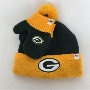 NFL Green Bay Packers Infant Beanie & Mittens MWT